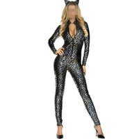 2017 Sexy Faux Leather Cat Leopard Snakeskin Latex Jumpsuit Rompers Bodysuit Catsuit Shiny Party Fashion Girl Costume Cat Suit