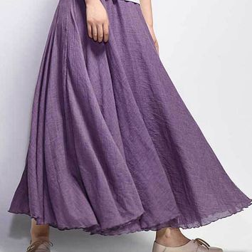 Women Cotton Elastic Waist Big Swing Hem Long Maxi Skirts