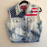 Bleached American Flag Vest