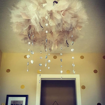 Baby Girl Mobile, Infant, Princess, Wedding, Nursery,  Shower, Tulle, Chandelier, Crystals, Cream and Beige, Pick Your Color,  Custome Made,