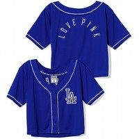 Los Angeles Dodgers Sequin Crop Baseball Top
