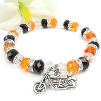 Orange Black Motorcycle Charm Bracelet, Harley Davidson Inspired