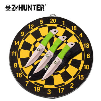 3 Piece Throwing Knife Set with Target Board - Green Cord Wrapped Knives