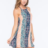 Full Tilt Linear Print Slip Dress Multi  In Sizes