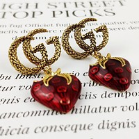 GUCCI New Oil Drop Cherry Pendant Earrings Jewelry Accessories