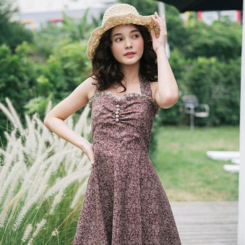 Summer Dress Retro Pinup Dress Brown Dress Halter Dress Cotton Vintage Sundress Floral Dress Swing Dance Dress Swing Skirt Tea Party Dress