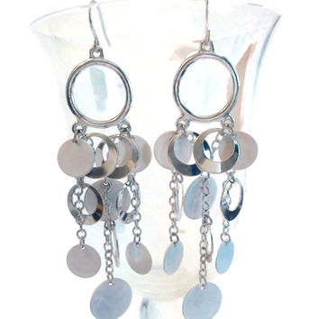 White Bohemian Gypsy Earrings, Chandelier Unique Cool Earing, Retro Hippie Accessories, Unique Style Jewelry
