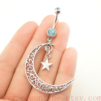 belly ring,belly button jewelry,moon and star belly button rings,hallow moon navel ring,piercing belly ring,friendship piercing bellyring