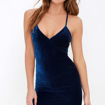 Something Special Navy Blue Velvet Dress