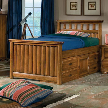 American Woodcrafters BKIT-7400-970--972-923-872-000330 Timberline Youth Rich Saddle Brown Twin Size Captains Bed with Storage Pedastal