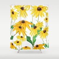 yellow sun choke flower Shower Curtain by Color and Color