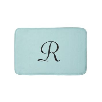 Robin's Egg Blue Monogrammed Plush Bath Mat