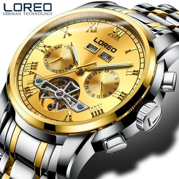 LOREO Original Stainless Steel Hollow Watch Men Orologio Uomo Day/Week/Month Luminous Auto Mechanical Wristwatches Gifts Box J89