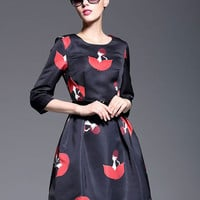 Black Cartoon Leaf Print Half Sleeve Flare Mini Dress