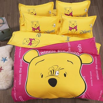 Bedding set  Cartoon Winnie DoraemoBedding Sets queen size for children with bed sheet Quilt Duvet Cover Pillowcase
