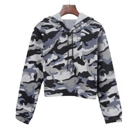Harajuku Sweatshirt Crop Top Hoodies Autumn 2018 Women Streetwear Camouflage Print Hoodie Woman Kpop Clothes Moletom Feminino