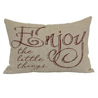 ''Enjoy The Little Things'' Throw Pillow (Tan)