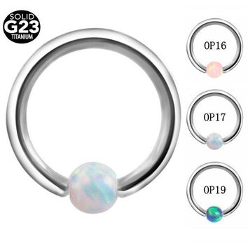 ac PEAPO2Q 1PC G23 Titanium Opal Stone Captive Bead Ring Piercings Nose Rings Gauges Septum Clickers Lip Earring Tragus BodyJewelry
