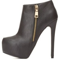 Side-Zip Platform Ankle Booties by Charlotte Russe - Black
