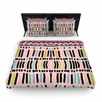 "Vasare Nar ""Native Pastel"" Multicolor Pastel Woven Duvet Cover"