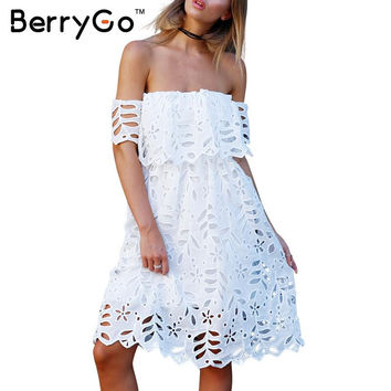 BerryGo Sexy off shoulder beach white lace dress Women elegant high waist summer dress 2016 girls evening party casual vestidos