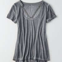 AEO Soft & Sexy Grommet Trim T-Shirt, Gray