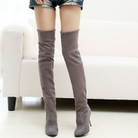 Women's PU Pure Color High Stiletto Over The Knee Boots - BuyTrends.com