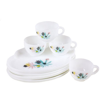 Milk Glass Snack Set, Patio Pattern Luncheon Plates, Federal Glass, Pastel Japanese Maple Design