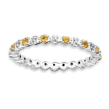 Sterling Silver Stackable Expressions Citrine & Diamond Alternating Eternity Ring