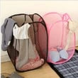 2015 Big Size Fashion Candy Colors Mesh Fabric nylon Foldable Pop Up Dirty Clothes Basket Bag Bin Hamper Storage for Home = 1958045380