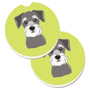 Checkerboard Lime Green Schnauzer Set of 2 Cup Holder Car Coasters BB1268CARC