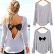 Sexy Backless Womens Long Sleeve Shirt Casual V-neck  Bowknot Splicing Loose Blouse Tops
