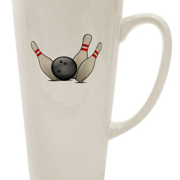 Bowling Ball with Pins 16 Ounce Conical Latte Coffee Mug