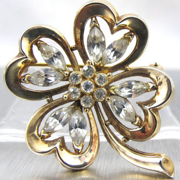 Vintage Crown Trifari Brooch Alfred Philippe Four Leaf Clover Rhinestone Patent Pend. Book Piece