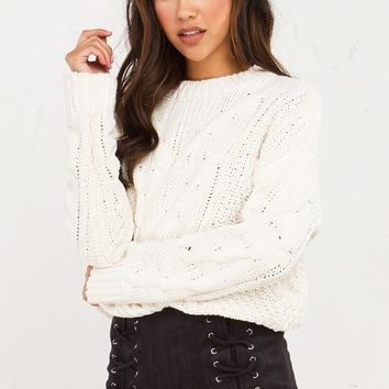 Thick Cable Knit Sweater in Ivory