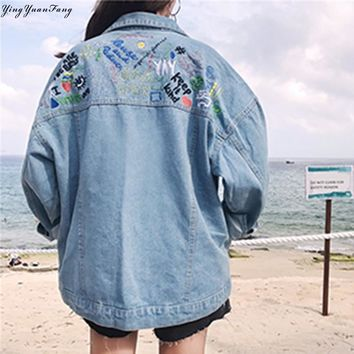 YingYuanFang The new fashion women's stock behind the embroidered graffiti printed loose denim jacket