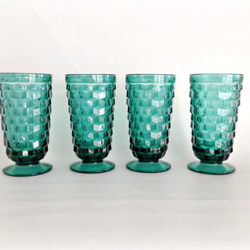 American Whitehall Cubist Glasses in Teal Green Glassware