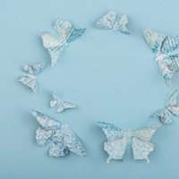 3D Butterfly Wall Art: 20 Distressed Turquoise Paper Butterflies for Wall Decor, Nursery, Children's Room