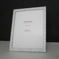 SILVER GLITTER FRAME - Sparkling Decorative Picture Frame for 8 x 10 photos or info