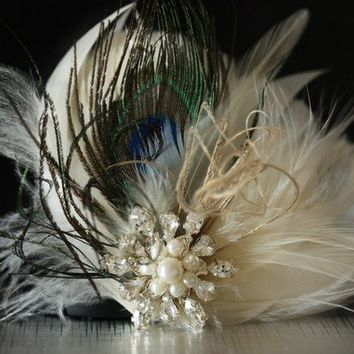 HALEY Unique handmade bridal feather fascinator by bridalcouture