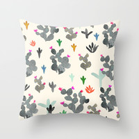 Cactus Desert Black and white Color Throw Pillow by Crystal ★ Walen