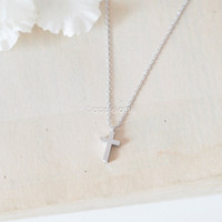 tiny cross necklace, christian cross necklace, simple necklace, layering necklace