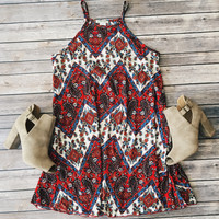 Zoe Paisley Dress (Red)