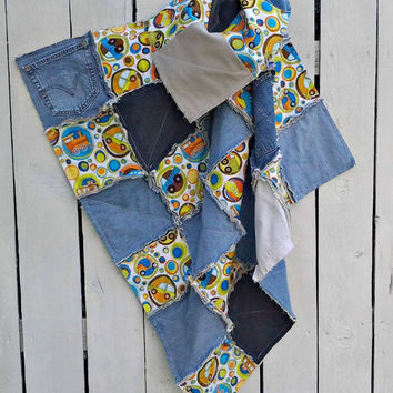 "Denim Baby Boy Blanket Rag Quilt- Blue and Orange Baby Blanket- Baby Boy Blanket- Denim Rag Quilt- Baby Shower Gift Idea- 42""X 42""-"