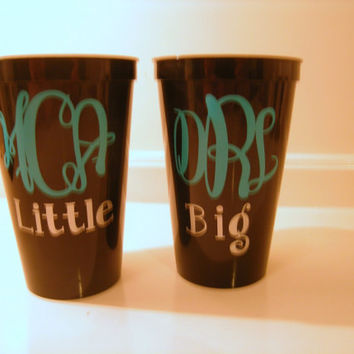 Sorority Big and Little Cups Set of 2 by CutitOutVinyl on Etsy