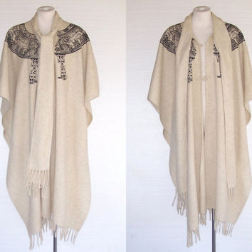 Mexican Wool Cape Mayan Clock Design Tie at Neck One Size S to L Free Domestic and Discounted International Shipping