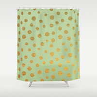 GOLDEN DOTS - MINT Shower Curtain by colorstudio | Society6