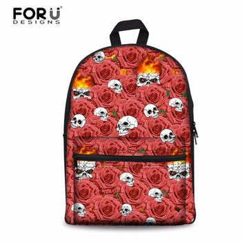 Canvas Backpack Rose Skull Infantry Pack Rucksack School Knapsack