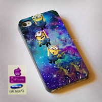 minions galaxy space, iphone case, case, samsung case, Galaxy Case, ipod case, iphone 4, iphone 5, s3, s4, htc case