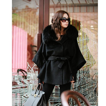 Hot Fur Collar Hooded Women's Double Breasted Batwing Cape Poncho Coat New  7_S = 1917058180